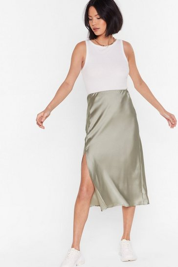Pistachio One Sleek Later Satin Midi Skirt
