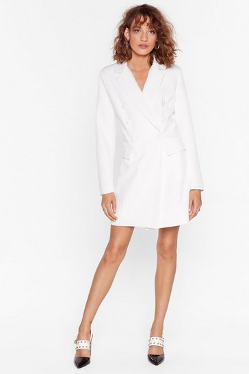 Robe blazer à revers crantés Back in business, White