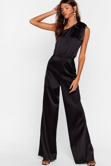 Black Bow Above and Beyond Satin Wide-Leg Jumpsuit