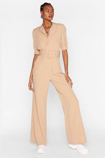 Stone Another Notch on Your Belted Wrap Jumpsuit