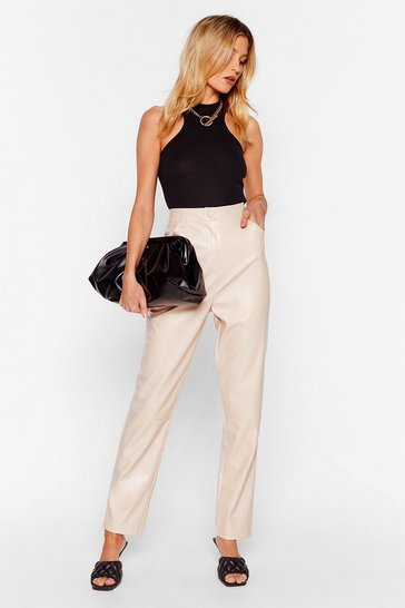 Ecru Faux Leather Miss a Thing Tapered Pants