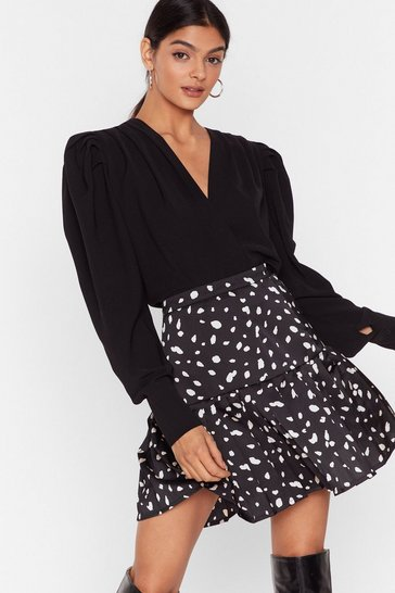 Black Front Row Pleat Dalmatian Mini Skirt