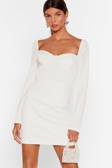Ivory Shirr Why Not Cupped Mini Dress