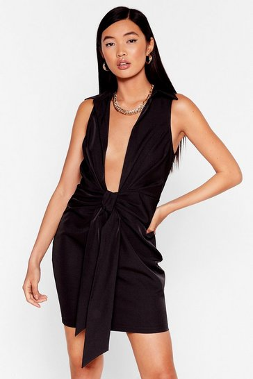 Bow for It Plunging Mini Dress, Black