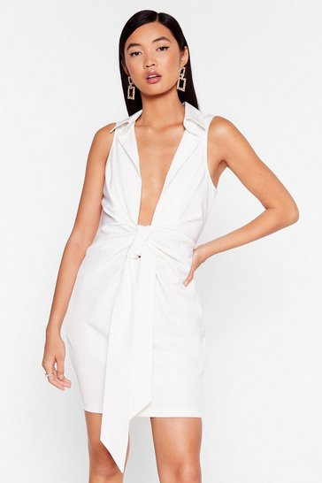 Bow for It Plunging Mini Dress, Ivory