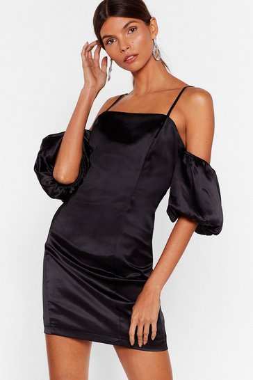 Black Sleeve Some Room Satin Cold Shoulder Dress
