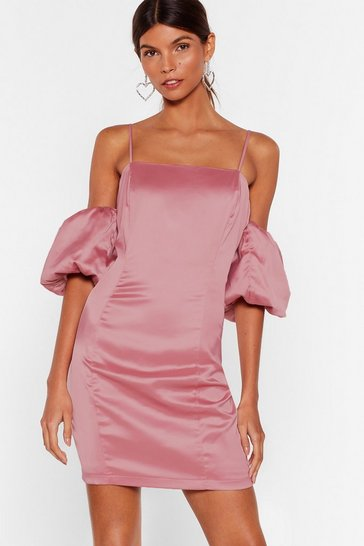 Rose Sleeve Some Room Satin Cold Shoulder Dress