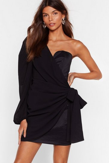 Black One Shoulder Chiffon Wrap Mini Dress