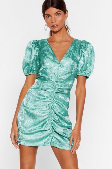 Teal Hey There Hot Puff Satin Jacquard Dress