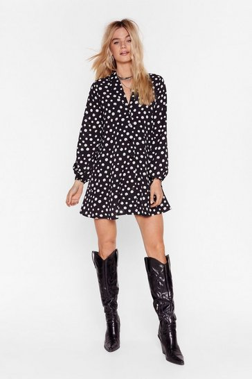 Black Polka Dot Mini Shirt Dress with V-Neckline