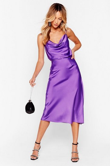 Purple Satin Midi Skirt