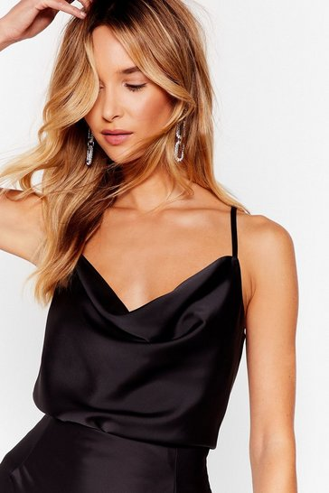 Black Cowl Me Satin Cami Top