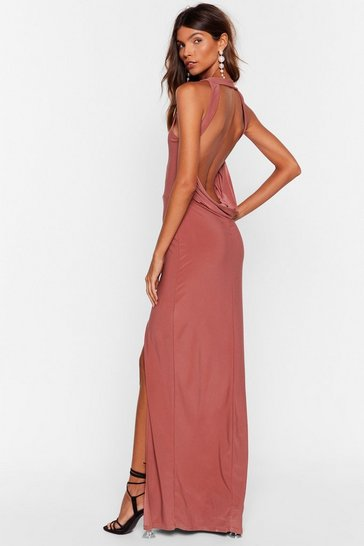 Dusty rose Cowl Back Later Slit Maxi Dress
