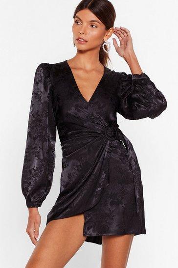 Black Take It in Satin Wrap Dress