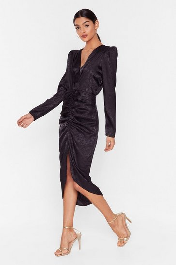 Black Slit of the Lip Satin Midi Dress