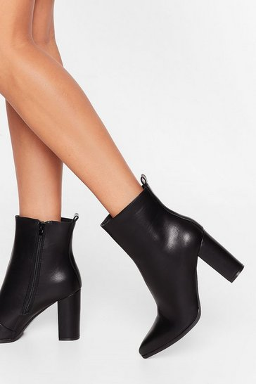 Black Step Outta Line Shiny Faux Leather Boots
