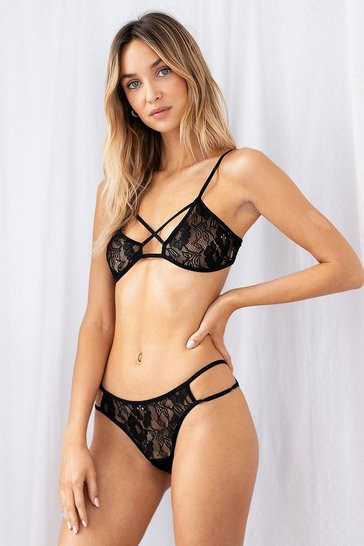 Black Cut It Out Lace Bralette and Knickers Set