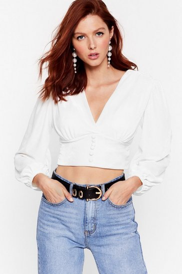 White Soft to the Touch Velvet Cropped Blouse