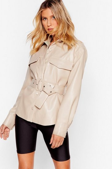 Beige Faux Leather Belted Shirt with Button-Down Closure