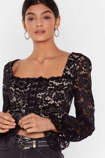 Black Lace Crop Top with Long Sleeves and Puff Shoulders