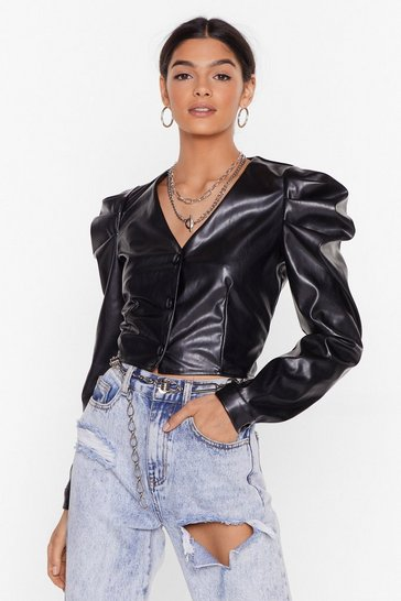 Black Faux Leather Puff Sleeve Crop Top with V-Neckline