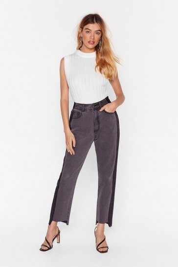 Grey Side by Side High-Waisted Mom Jeans