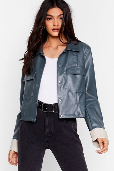 Grey Cause a Jacket Faux Leather Cropped Jacket