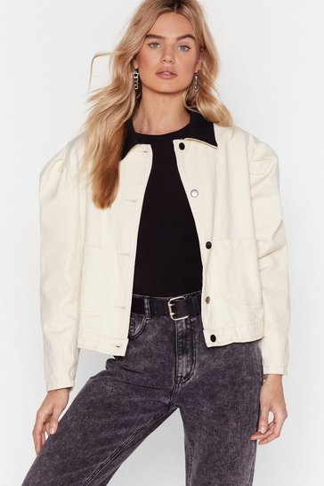 Ecru Don't Sleeve Without Me Button-Down Collared Jacket