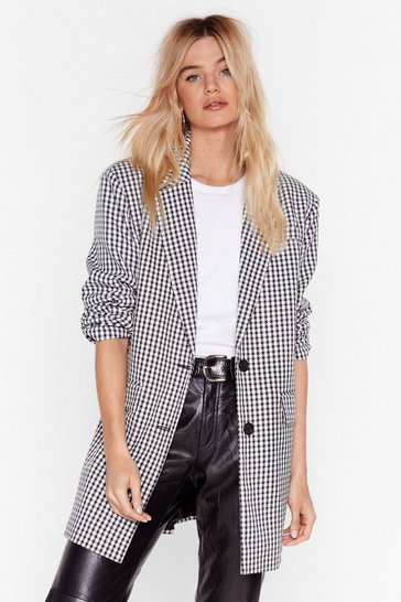 Black Houndstooth Oversized Tailored Blazer
