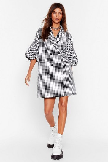 Black Moment of Houndstooth Puff Sleeve Blazer Dress
