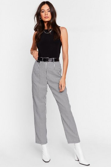 Black Moment of Houndstooth High-Waisted Tapered Pants