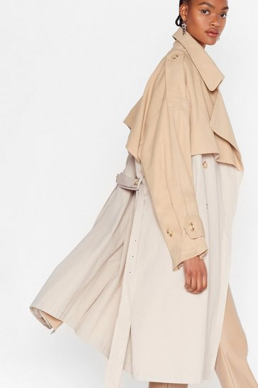 Stone Two Tone Oversized Belted Trench Coat
