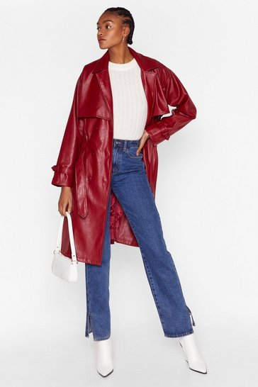 Red Forever and Faux Leather Belted Trench Coat