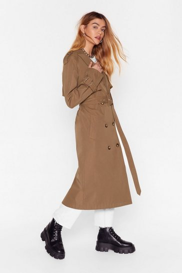 Khaki Hey There Tailor Double Breasted Trench Coat
