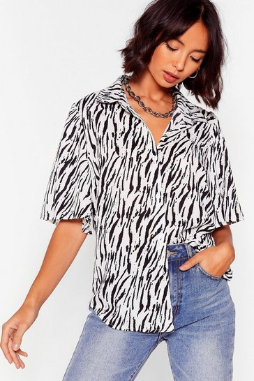 White Herd the News Puff Sleeve Zebra Shirt