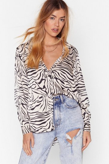 Stone Herd You Were a Wild One Satin Zebra Shirt