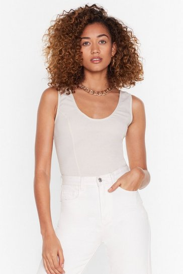 Beige See What We Seam Scoop Neck Crop Top