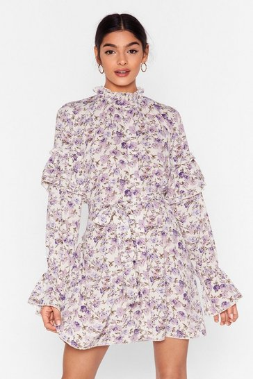 Cream Plant One on Me Floral Mini Dress