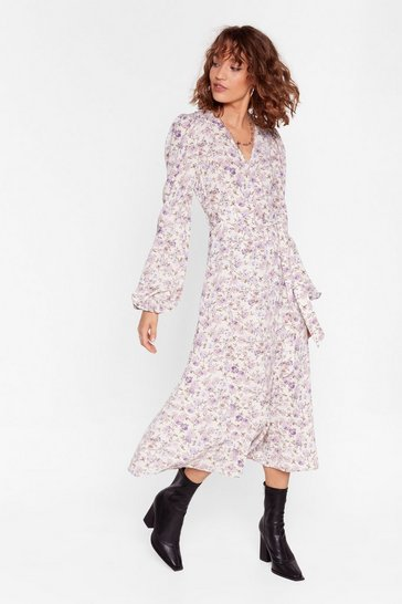 Cream We Really Lilac You Floral Wrap Dress