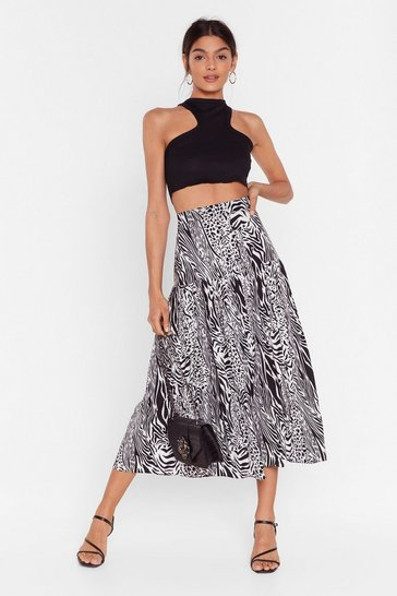 Black She Drives 'Em Wild Animal Midi Skirt