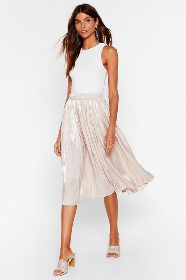 Nude Have You Sheen Her High-Waisted Midi Skirt