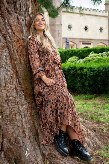 Leopard Ruffle Maxi Dress, Brown