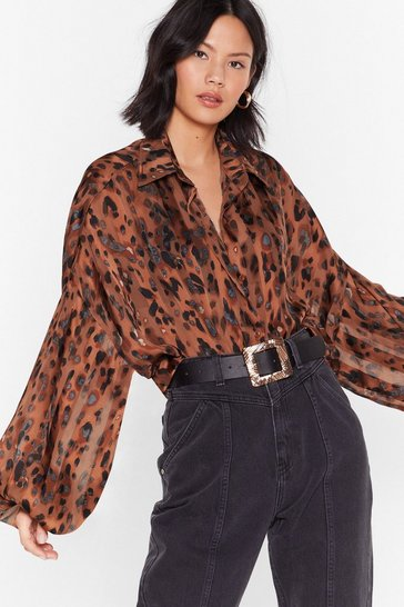 Brown  Oversized Leopard Print Shirt