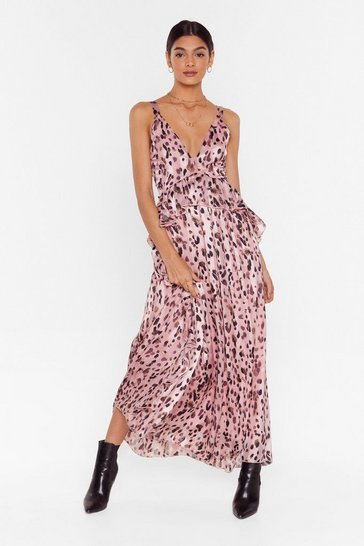 Leopard Stripe Ruffle Maxi Dress , Pink