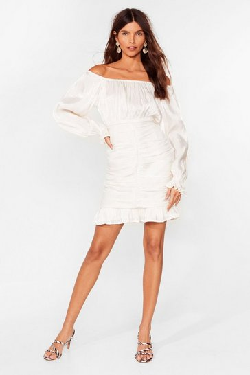 Champagne Shimmer on Over Off-the-Shoulder Mini Dress