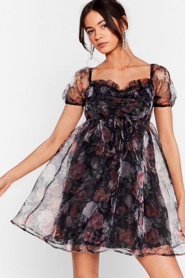 Oriental Floral Organza Puff Mini Dress , Black