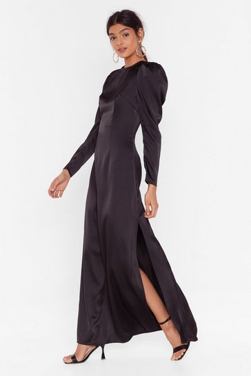 Black Hold Back Puff Shoulder Maxi Dress