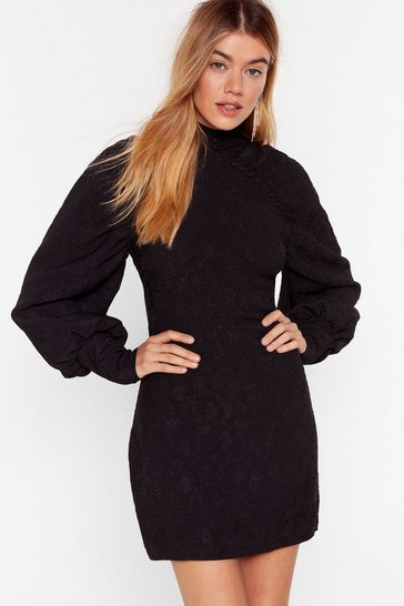 Black Grow Along With It Jacquard Mini Dress