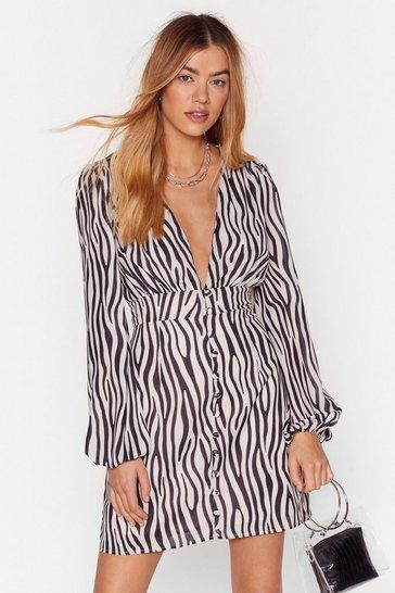 Cream Zebra Print Mini Dress with Zip Closure at Back
