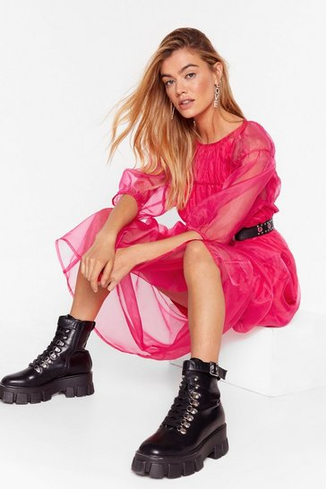 Hot pink Sheer We Are Puff Sleeve Midi Dress